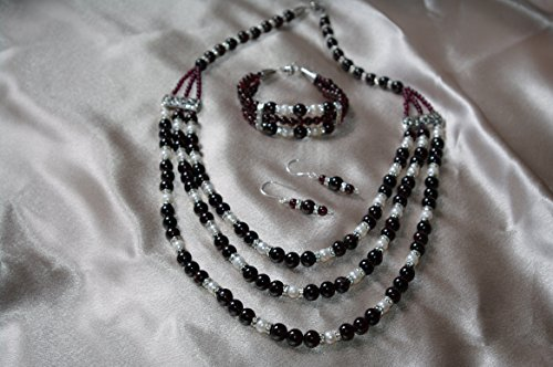 Garnets and Fresh Water Pearls 3 piece set - Garnet Fw Pearl