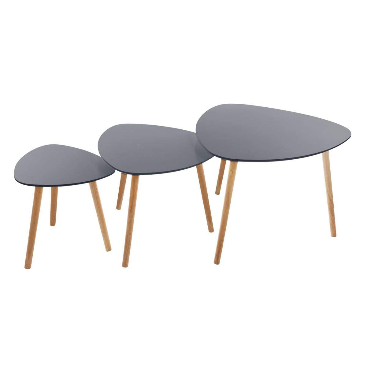 Atmosphera Set di 3 tavolini da caffè sovrapponibili – Stile scandinavo – Colore: Grigio