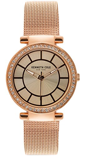 Kenneth Cole New York Rose Gold-Tone Mesh Round Watch
