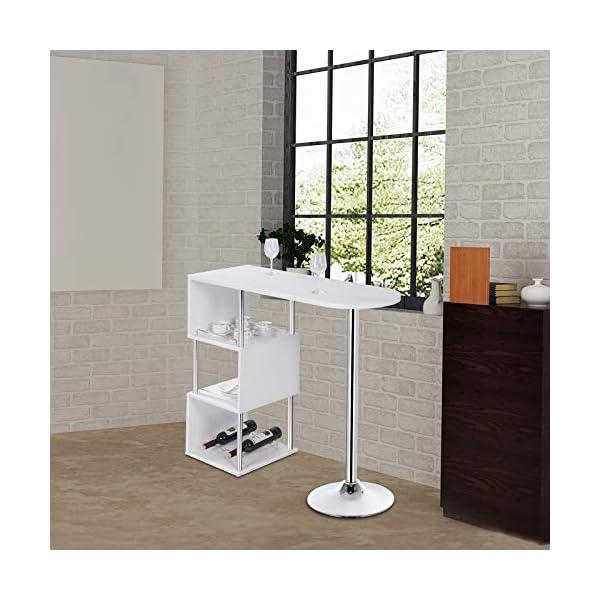 WOLTU BT22ws Table de Bar bistrot Table Haute de Cuisine comptoir de Bar en MDF et métal avec 3 tablettes et Porte-Bouteilles, 113x40x105cm Blanc