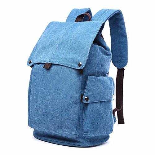 LMDSG koreanische Männer Rucksack Tasche ist einfach Schulter Reisen retro Leinwand Männer student Tasche Computer Bag sky blue