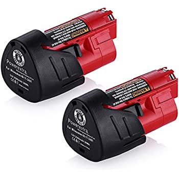 milwaukee m12 logo. powerextra 2 pack 12v 2500mah lithium-ion replacement battery for milwaukee m12 48- logo