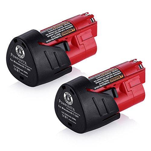 Powerextra-2-Pack-12V-2500mAh-Lithium-ion-Replacement-Battery-for-Milwaukee-M12-Milwaukee-48-11-2411-REDLITHIUM-12-Volt-Cordless-Milwaukee-Tools-Milwaukee-12V-Battery-Lithium-ion