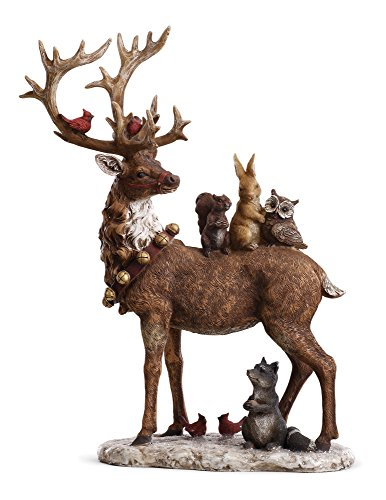 Reindeer and Forrest Friends 16 x 12.5 inch Christmas Table Top Figurine Decoration