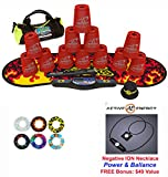 Speed Stacks Custom Combo Set - The Works: 12 RED 4'' Cups, Cup Keeper, Quick Release Stem, Pro Timer, Gen 3 Premium Black Flame Mat, 6 Snap Tops, Gear Bag + FREE: Active Energy Power Necklace $49