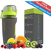 Fruit Infuser Water Bottle SUMMER SALE - FREE Infusion Recipe eBook & Anti Sweat Sleeve - 32oz - Full Starter Kit - BPA Free Plastic - Insulated - Best for Fruit Infused Water Travel Sport