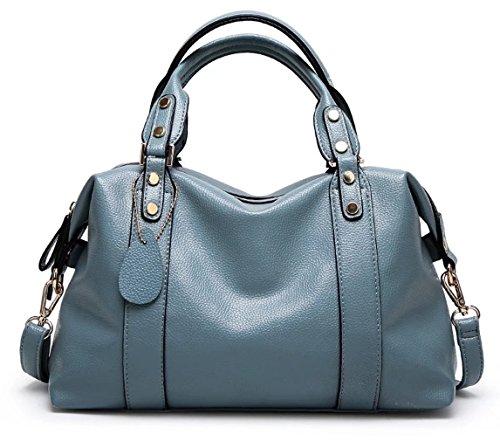 HopeEye mujer Tendencias de la moda Cuero De La Pu Bolso de mujer(dwpj14-4-Blue) 4-azul