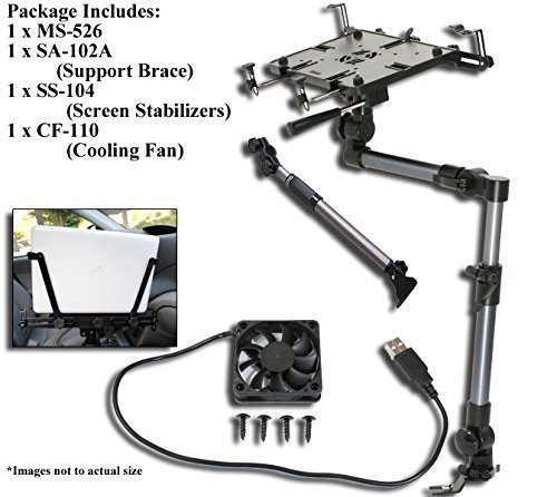 Mobotron MS-526 Heavy-duty Laptop Mount + Screen Stabilizer+ Cooling Fan+ Supporting Brace by Mobotron