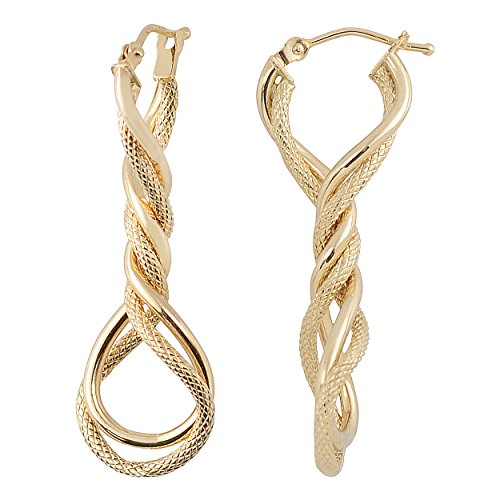 Kooljewelry 14k Yellow Gold Elongated Twisted Hoop Earrings ()