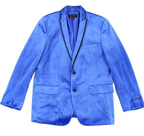 INC Mens Large Satin-Trim Two Button Velvet Blazer Blue (Satin Velvet Blazer)