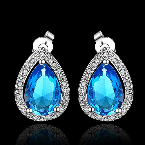 Women Earrings Hot Jewelry Sapphire Quartz Platinum Studs Silver Earring New Lady Party Gift Crystal Earrings From -