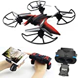 USA Distributors Dino Drone with HD Camera Live Video VR GLASSES INCLUDED Easy to Control with Wearable G-Sensor Remote Control Emulational Altitude Hold Back to School Sale (Red)