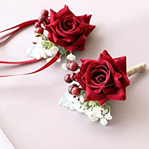 Florashop Red Satin Rose Corsage and Boutonniere Pack Wedding Bridal Bridesmaid Wrist Corsage Band Men's Groom Bridegroom Boutonniere for Wedding Prom Party Homecoming 19