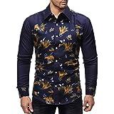kaifongfu Men Shirt for Autumn Winter Long Sleeved Pullover Top Blouse (Navy,M)
