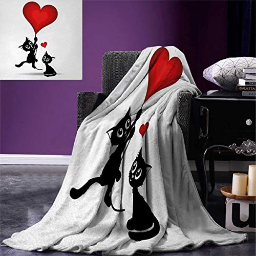 Anniutwo Valentines Day Warm Microfiber All Season Blanket Baby Cat Holding Heart Shaped Baloons Romantic Love Themed Illustration Print Image Blanket 62