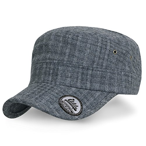 ililily Checkered Wool Blended Military Army Radar Hat Casual Cadet Cap, (Wool Cadet Hat)