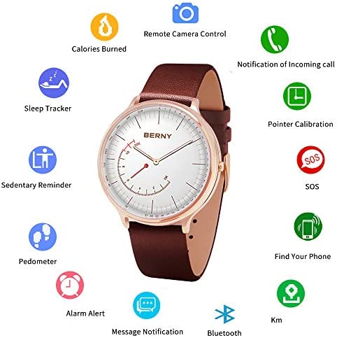 BERNY Hybrid Smart Watch Couple Watch for Men and Women, Pedometer Calories Monitor Fitness Tracker with SOS Function, Compatible with iPhone and Android Brown, Female