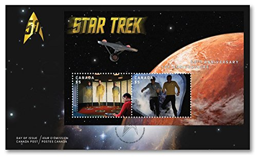 Star Trek 50th Anniversary- Lenticular Souvenir Sheet Official First Day Cover Collectible Postage Stamps (Canada Post)