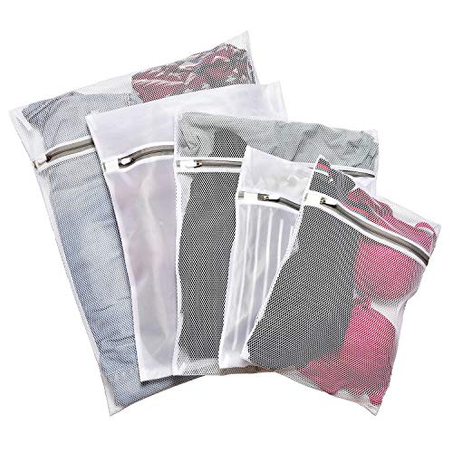 LASV Mesh Laundry Bag for Delicates,Set of 5 Reusable Washing Bags,Travel Storage Organizer Set with Premium Zipper (Fine Mesh & Coarse Mesh)
