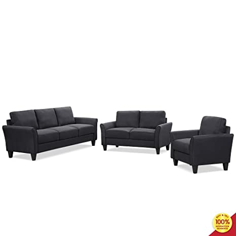 Wondrous 3 Pieces Living Room Sofa Furniture Set Sectional Armrest Chairs For Single Two Seats And Three Seaters Couch Black Squirreltailoven Fun Painted Chair Ideas Images Squirreltailovenorg