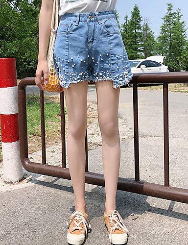 Las de Vaqueros YFLTZ Mujeres Alta Color Blue Cintura Salir de Pantalones sólido tqaww4