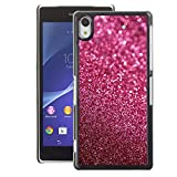 A-type Colorful Printed Hard Protective Back Case Cover Shell Skin for Sony Xperia Z2 ( Glitter Pink Purple Bling Sand Reflective)