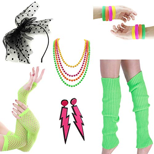 Women Costume 80s Fancy Outfit Accessories Set- Leg Warmers Fishnet Gloves Hairband Bracelet Plastic Neon Beads Earrings for Costume Party 80s Theme Party Halloween(Set6 Green) -