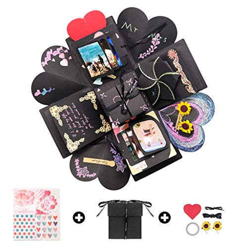 Kicpot Creative Explosion Gift Box, Love Memory DIY Photo Album as Birthday Gift and Surprise Box About Love Opend with 14''x14''(Black) (Diy Best Friend Necklaces)