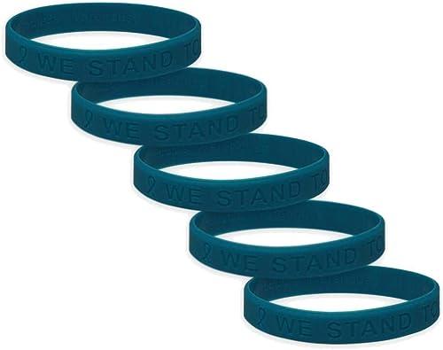 Amazon Com Ovarian Cancer Awareness Silicone Bracelet 5 Pack Jewelry
