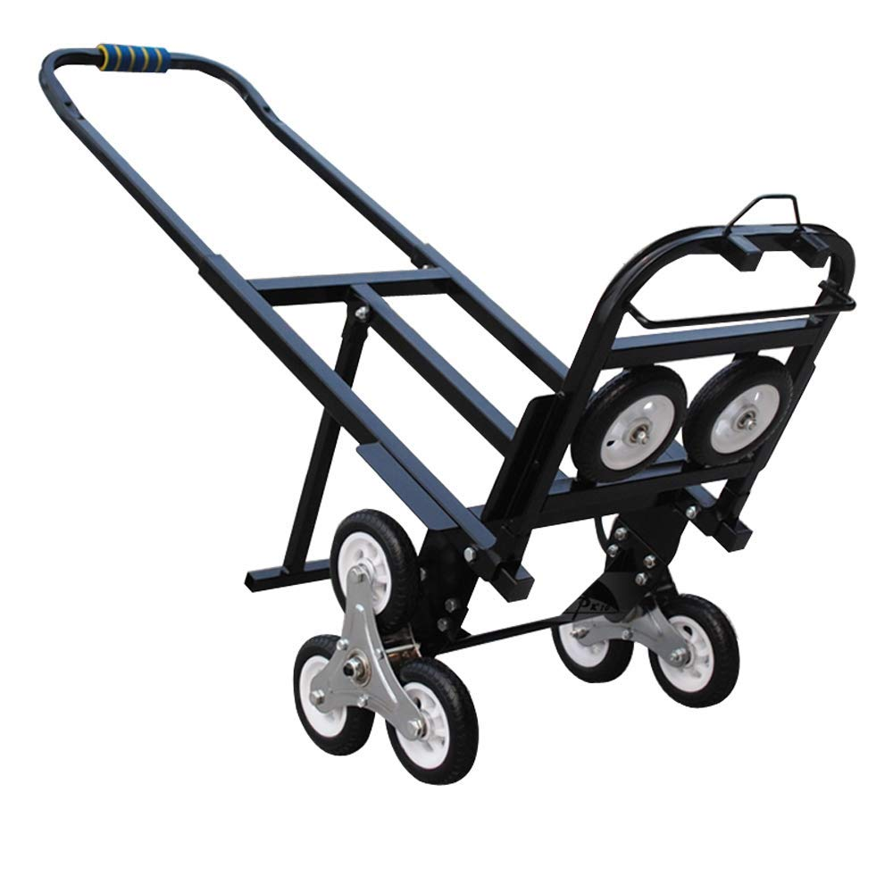 INTBUYING Foldable Folding Portable Stair Climbing Hand Truck Luggage Cart,420LBS Capacity Handcart Luggage Cart with 6 Wheels and 2 Backup Wheels (Black)-Without Castes