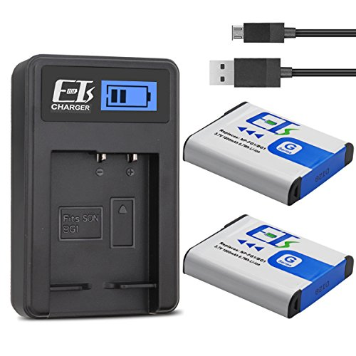 - E-TS Upgraded 1800 mAh Sony NP-BG1 Battery Replacement 2 Packs and Charger for Sony NP-FG1, CyberShot DSC-W30, W35, W50, W55, W70, W80, WX1, WX10, HX9V, H10, H20, H70, H50, H55, H90