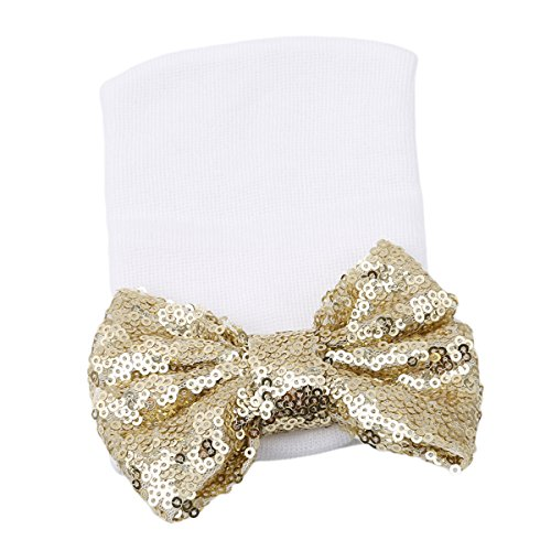nt Cotton Soft Stretchy Beanie Hospitail Hat with Sequin Bow (Sequin Gold) (Sparkle Cap)