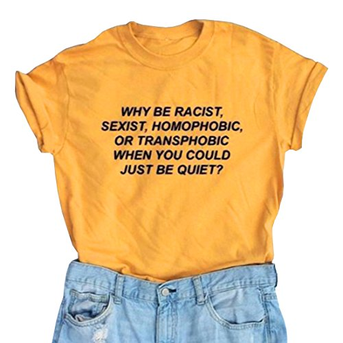LOOKFACE Teen Girls Summer Street Tee Printed Women T Shirt Yellow Small