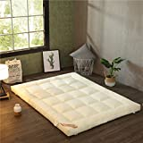 hxxxy Collapsible Plenty thick Tatami floor mat,Large Easy to carry33 Various sizes Dorm Queen-king Washable Futon mattress topper-creamy-white 150x200cm(59x79inch)