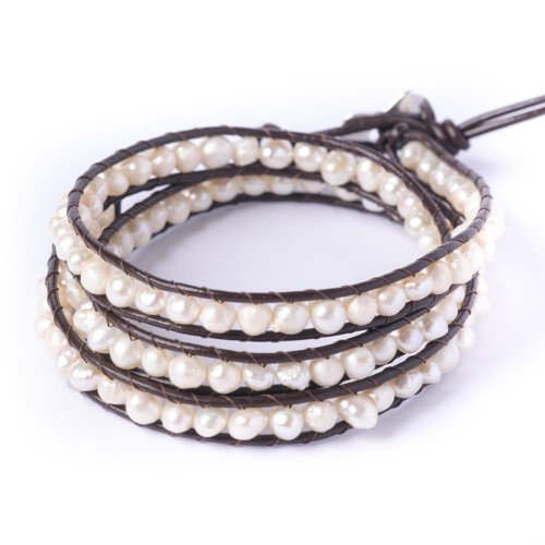 81stgeneration Women's Simulated Pearl 5-6 mm Silver Tone 3 Line Wrap Friendship Bracelet, 51 - 56 cm by 81stgeneration