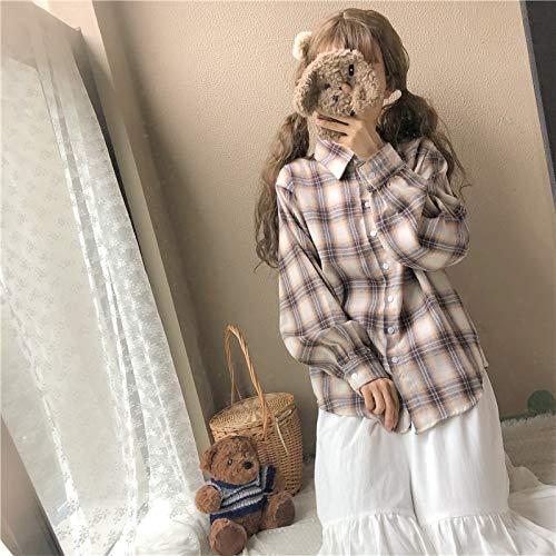 Maniche Lunghe Donna Stile Allentata Coreana Plaid In A Giapponese Vintage Moda Camicia Qaqbdbckl Da TWvzn1