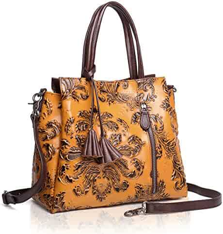 APHISON Designer Unique Embossed Floral Cowhide Leather Tote Style Ladies  Top Handle Bags Handbag 09242e6dd64f2