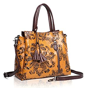 APHISON Designer Handbag for women Unique Embossed Floral Leather Tote Style Ladies Top Handle Bags 83289