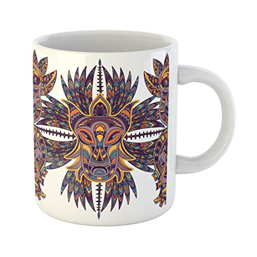 Semtomn Funny Coffee Mug Seamless Pattern with Tribal Mask and Aztec Geometric Latin American 11 Oz Ceramic Coffee Mugs Tea Cup Best Gift Or Souvenir ()