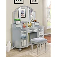 Furniture of America CM-DK6162SV Tracy Silver Vanity with Stool