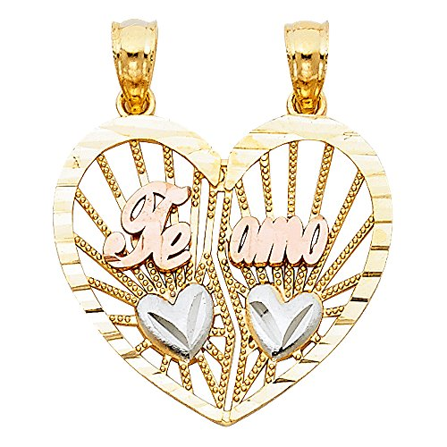 Charm Claddagh Polished Gold (Heart Te Amo Breakable Pendant Solid 14k Yellow White Rose Gold Couple Sharing Love Charm 20 x 22 mm)