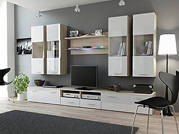 Wohnwand \'Dream I\' Hochglanz Wohnzimmer Tv Wand , Farbe:Sonoma Eiche ...