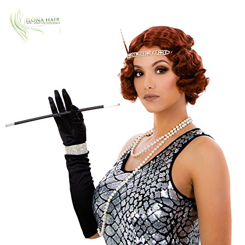 Short Finger Wave Wig for Woman Black Blonde/White Auburn Gatsby Style Curls (130) ()