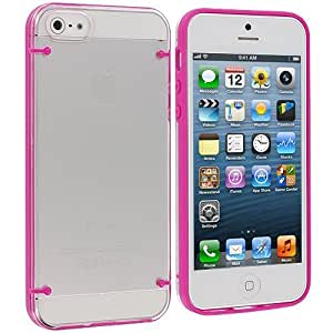 Accessory Planet(TM) Hot Pink Crystal Transparent Clear Hard Hybrid Case Cover for Apple iPhone 5 / 5S