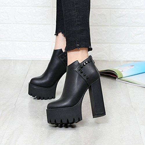 Imperméables Chaussures Rivets Et Chaussures D'Épaisseur Pour Des Talons Épaisses black Semelles De KHSKX Des 38 Des Hauts Confortables Chaussures Femmes gq6447Ax