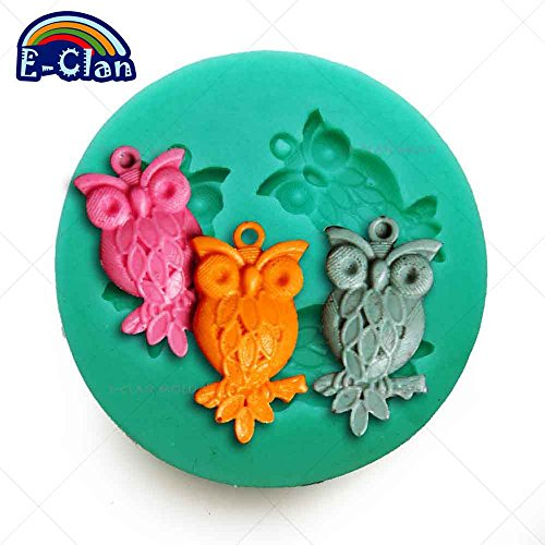 Diyclan mini cute owl pendant accessories mould pudding jelly chocolate sugar craft tools F0557MT35 ()