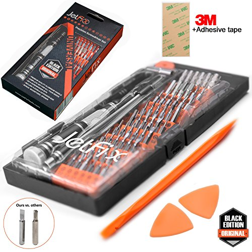 Jetfix IT Precision Magnetic Screwdriver Repair Set - BONUS 3M double side Adhesive tape + Magnetizer - Computer, Watch, Electronics, Cell Phone, Mobile, Laptop Tool Hardware Kit Electrician, Jewelers (Hardware Tools And)