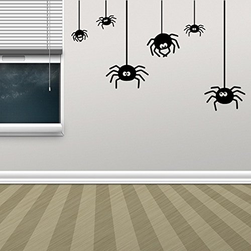 BIBITIME Halloween Wall Art Spider Decal for Wall Sticker for Living Room Porch Bedroom Nursery Kids Room Decor Shop Showcase Display Window DIY (Small -