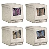 mDesign Fabric Storage Box for Shoes, Boots, Pumps, Sandals, Flats with a Clear Window and Hinged Lid for Closet Storage - Textured Print - Pack of 4, Medium, Linen