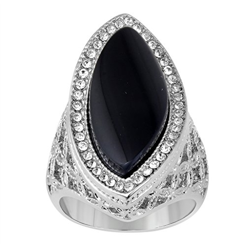 Jewelili Brass Black Onyx and Round Clear Crystal Ring, Size 7